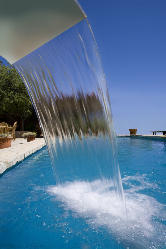 water fall feature over new pool plaster